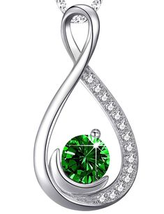 ?? Endless Love ?? Infinity Moon Necklace Green Emerald Jewelry Birthday Anniversary Gifts for Her for Women Sterling Silver ** Check out this great product. (This is an affiliate link) #collarsnecklaces
