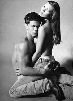 Calvin Klein AD Mark Wahlberg and Kate Moss