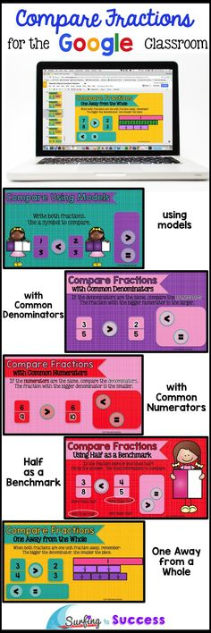 5 strategies for comparing fractions are covered in this digital Google Slides resource. Compare Fractions Using Models Compare Fractions with a Common Denominator Compare Fractions with a Common Numerator Compare Fractions using Half as a Benchmark Compare Fractions that are One Away from the Whole