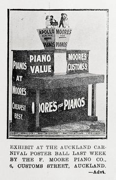 Sir George Grey Special Collections, Auckland Libraries, AWNS-19230329-39-3 Carnival Posters, Auckland, Heritage Image, Image Collection, Exhibit, Libraries, New Zealand, Piano