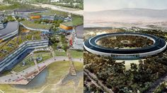 """""""New Google & Apple Headquarters"""": Comparing birds-eye views of Google's (left) and Apple's (right) future HQs reveals a lot about their corporate culture. Google's rendering shows a somewhat random layout, sprawling and a bit messy. People are everywhere in the rendering, in rooftop tents and on bridges, connecting in random ways. Apple's HQ image, on the other hand, has a zen-like elegance, but also appears fortress-like, secretive to the outside world.   Google: NBBJ, Apple: Foster +Partners"""