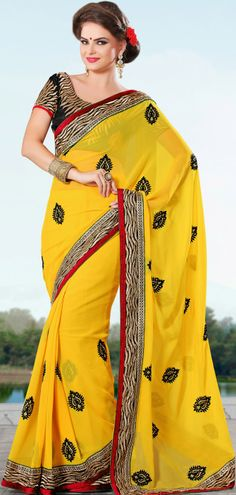 #New Faux #Georgette #Saree Design In Yellow | @ $156.15