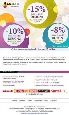 Créations de la newsletter pour Oralto Home Design.