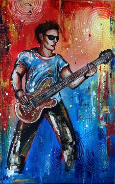 gitarrist acrylbilder leinwandbild musiker gemälde blau rot #gitarrist #acrylbilder #leinwandbild #musiker #gemälde #blau #rot