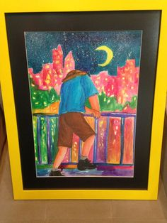 #man #moon #city #night #ink #colors #thoughts #citylights #hat #observing #frame #stars #AnagramaArtLab #CaHachul