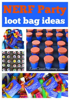 Clever NERF party goodie bags. Free printable tags included.