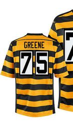 "$78.00--Men's Nike Pittsburgh Steelers #75 Joe Greene Elite Yellow Black Alternate 80TH Anniversary Throwback NFL Jersey,Free Shipping! Buy it now:click on the picture, than click on ""visit aliexpress.com"" In the new page."