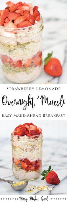 Strawberry Lemonade Overnight Muesli | An easy make-ahead breakfast made with whole oats, yogurt, and fresh fruit.