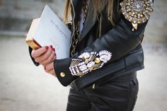 What an amazing embellished leather jacket.