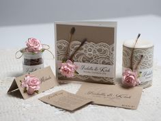 A cute combination of rustic #wedding #invitations, place cards, decorations, and bomboniere