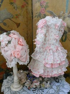 ~~~ Marvelous French BeBe Costume with Pretty Bonnet ~~~