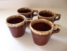Favorite Ozello coffee mugs..Vintage Hull Brown Drip Coffee Cups