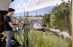 Œuvre créée en direct - La Liberté Dragons, Direction, Les Oeuvres, Painting, Fresco, City, Train Your Dragon, Kite, Painting Art