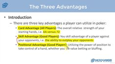 3 Advantages Of Poker Versus Playing in a Casino Online Poker, Play Online, Best Player, Internet, Let It Be, Live, Simple
