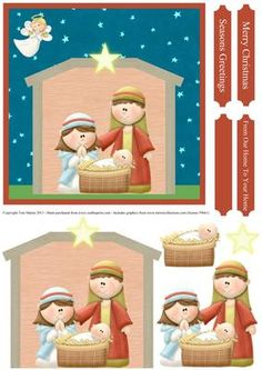 Christmas Nativity Christmas Scene Decoupage Card on Craftsuprint designed by… Christmas Topper, Christmas Tag, Christmas Angels, Christmas Crafts, Xmas, Winter Christmas Scenes, Christmas Nativity Scene, Nativity Sets, Merry Christmas Greetings