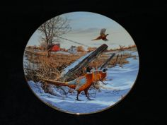 """1991 W.S. George Field Birds of North America """"Winter Colors: Ring Necked Pheasant"""" Collector Plate by Darrell Bush by ThePlateHutchII on Etsy"""