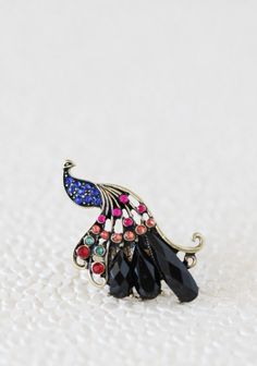 Gilded Plumage Peacock Ring