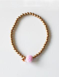the   pink pompom   necklace