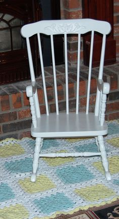 Restored White Old Child's Rocking Chair, used by our Grand-daughter for a lyrical number to Amazing Grace.