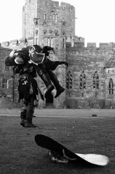 Medieval Fighting Knights at Peckforton Castle in Cheshire.