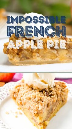 This Impossible French Apple Pie is perfect for people who struggle with pie crust! Spiced apples and a crumbly pecan and butter topping make for a delicious dessert recipe! Bisquick Recipes, Apple Pie Recipes, Easy Cookie Recipes, Tart Recipes, Easy Desserts, Sweet Recipes, Blueberry Pie Recipes, Apple Desserts, Apple Custard Pie