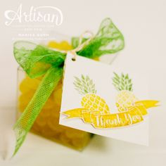 Summery card and gift box with tag featuring the Pop of Paradise stamp set from…