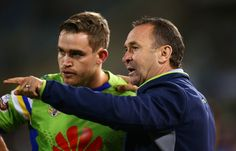 Raiders coach Ricky Stuart talks with Luke Bateman of the Raiders during the round eight NRL match between the Canberra Raiders and the Manly Sea Eagles at GIO Stadium on April 21, 2017 in Canberra, Australia.