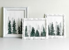 Need some quick Christmas decor? Learn how to paint watercolor pine trees and then create a few wintery forest scenes to hang in your home.