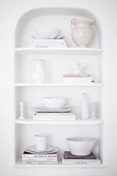 Shades of white. why we love built-in bookshelves on domino.com