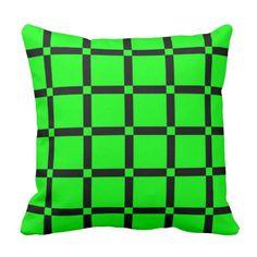 Black & Neon Green Pattern Throw Pillow