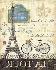 There's no better way to see true Paris than on bicycle, and there's no better way to accentuate a room than with this cycling-inspired stretched canvas. Elegant hues, bold typography and a vintage feel blend to create this pleasing piece. Vintage Labels, Vintage Postcards, Vintage Images, Vintage Prints, Vintage Art, Vintage World Maps, Tour Eiffel, Illustration Paris, Arte Pallet