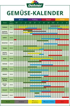 Praktischer Gemüse-Kalender - New Ideas