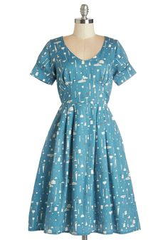 Clean Winner Dress. No trick or tool can downplay the absolute adorableness of this blue cotton dress by Poppy London, which will be available for purchase in September. #blue #modcloth