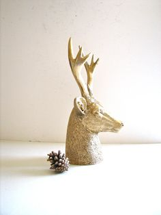 Faux Stag Deer Head Bust animal statue in gold for by mahzerandvee