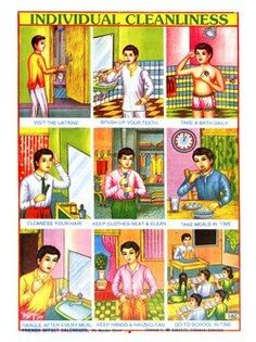 Amazon.com: Retro Kitsch And Culture Prints: Individual Cleanliness - Indian Educational Chart Print - 40x30cm: Home & Kitchen