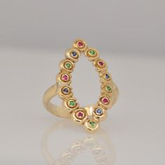 Multistone Ring  Gold Ring  Marquise Ring  by malkaravinajewelry