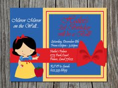 Princess Birthday Invitations Snow White Princess por PaperMoment