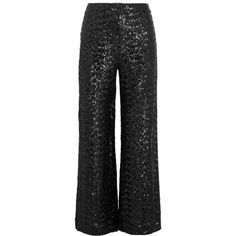 Roland Mouret Ailish sequined mesh wide-leg pants (48 965 UAH) ❤ liked on Polyvore featuring pants, black, sequin trousers, sequin wide leg trousers, cuffed pants, mesh pants and roland mouret
