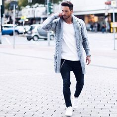 Vans Blanches Homme, Tenues Cardigan, Mode Swag, Rue Hommes, Tenue Classe  Homme