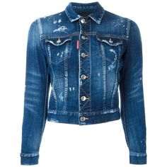 Dsquared2 cropped distressed jean jacket (1.630 BRL) ❤ liked on Polyvore featuring outerwear, jackets, denim, jackets/vests, pants, blue, blue denim jacket, blue jackets, denim jacket and 3 4 sleeve jean jacket