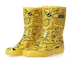 Fashionmore Womens Midi Calf Rain Boots US 45 Yellow -- Want additional info? Click on the image.