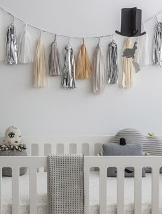 baby room color pallet of whites, grays & simple pops of color