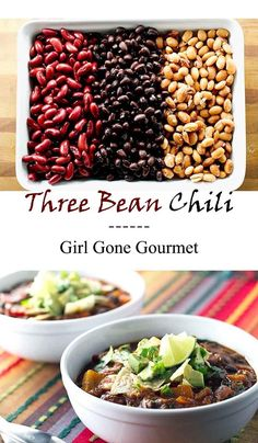 This three bean chili packs a nutritious punch! | girlgonegourmet.com