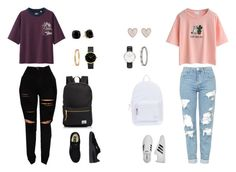 """Untitled #23"" by mia-benavidez on Polyvore featuring WithChic, Uniqlo, Topshop, adidas, Puma, Herschel Supply Co., Cartier, Daniel Wellington, Kate Spade and New Look"