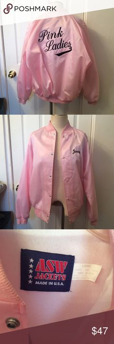 "Blush pink embroidered bomber jacket. PINK LADIES Bomber jacket from a sports team.  #Girl Power  Large.  ASW Jackets  Has 2 stains shown in last 2 pictures. 28"" in length.  34.5"" sleeves measuring from top of neck to end of sleeve.  48"" bust.   It does have the name ""Janay"" on the front.  I've worn this about 5 times and I'm an XS, so it's cute oversized as well.   (Xsmall, small, medium, large) ASW Jackets Jackets & Coats"