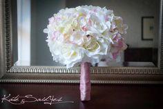 White Rose and Pink Hydrangea Silk Bridal Wedding Bouquet