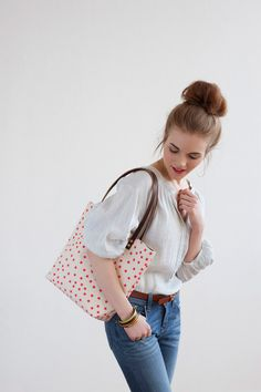 Watermelon Stars Tote Bag,  Hand Printed Canvas, Leather Straps