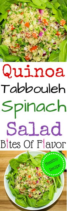 Quinoa Tabbouleh Spinach Salad-Light yet filling salad great for lunch or dinner. Fresh vegetables, quinoa & baby spinach, topped with a vinaigrette is sure to please any non-salad lover. Weight Watcher friendly recipe. www.bitesofflavor.com