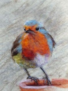 Beautiful ❤ Felted Painting of Robin Bird by Fiona Gill of Marmelade Rose Needle Felted Animals, Felt Animals, Needle Felting, Nuno Felting, Fibre Textile, Textile Art, Wet Felting Projects, Felt Wall Hanging, Felt Pictures