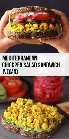 This vegan Mediterranean-style chickpea salad sandwich is colorful and bursting with flavor. Topped with a creamy thick tzatziki, pickled red onions and mashed avocado. Sandwich Vegan, Salat Sandwich, Chickpea Salad Sandwich, Vegan Sandwiches, Veggie Recipes, Whole Food Recipes, Vegetarian Recipes, Cooking Recipes, Healthy Recipes